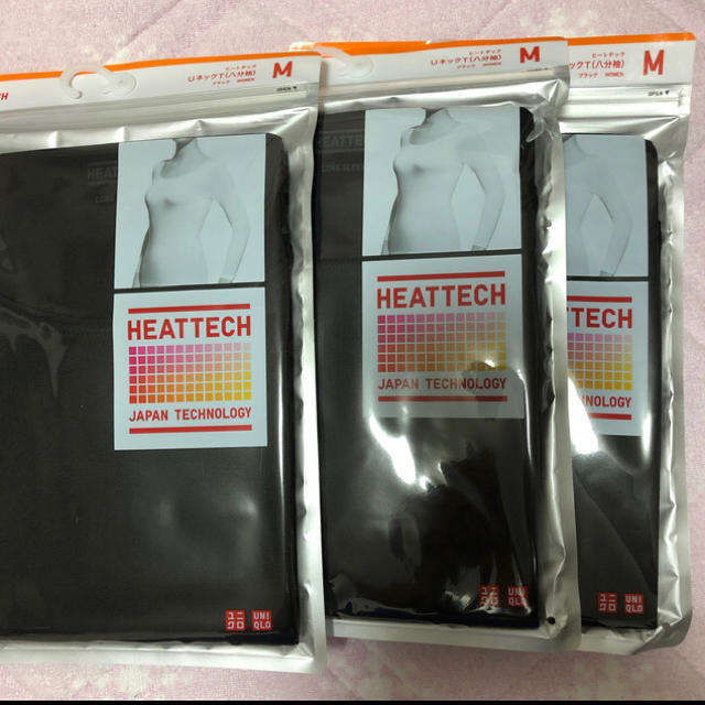 UNIQLO(ユニクロ)のヒートテックユーネック(八分袖)M レディースの下着/アンダーウェア(アンダーシャツ/防寒インナー)の商品写真