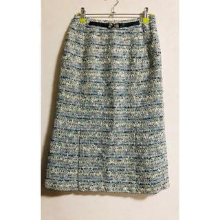 ニジュウサンク(23区)の23区 ★ スカート ライトブルー×アイボリー 36 小さいサイズ(ひざ丈スカート)