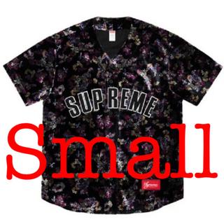 Supreme - Supreme Floral Velour Baseball Jersey 黒S