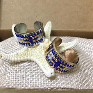 ネイティブ ビーズリング ピンクゴールド×ブルー(リング(指輪))