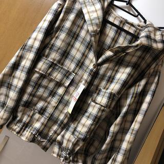 しまむら - チェックフードシャツ ドロストリング