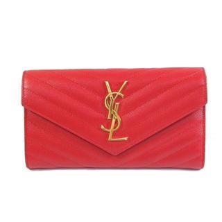 サンローラン(Saint Laurent)の【極美品】サンローランパリ 長財布 型押しレッドレザー(財布)