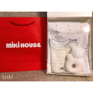 ミキハウス(mikihouse)のMIKIHOUSE ミキハウス 新品 スタイ ラトル ガーゼバスタオル おくるみ(おくるみ/ブランケット)