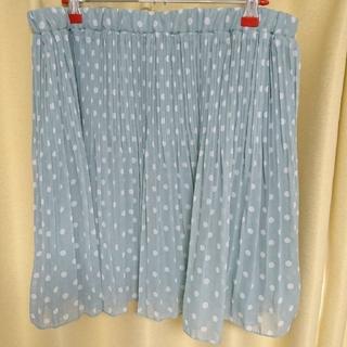 ギャルフィット(GAL FIT)のプリーツスカート 水玉 ドット ミントグリーン ひざ丈 3L(ひざ丈スカート)