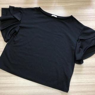 GU - GU フリルスリーブT(半袖) 黒色 Sサイズ