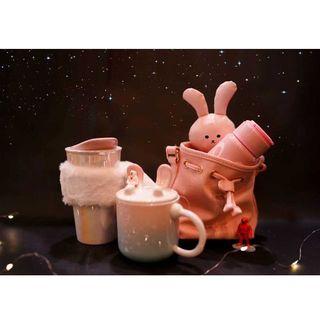 Starbucks Coffee - スタバ 月兎 虹 ダブルウォールカップ ピンク 中国限定 携帯 置き台 T様専用