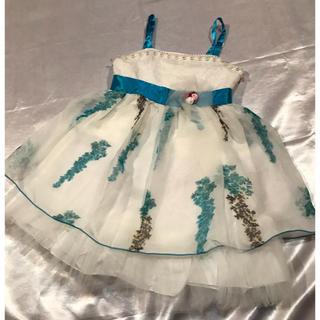 ◆新品◆白×水色お花チュールミニドレス◆パーティ/Xmas/発表会(ドレス/フォーマル)