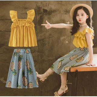 大人気♡女の子 韓国 夏 2点セットファッション感 スリング+ パイナップル柄(ワンピース)