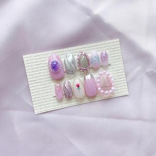 スモーキー ピンク × ミラー ニュアンス♥ネイルチップ