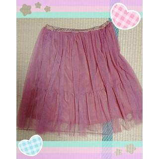 シマムラ(しまむら)のスカート ピンク チュール レース(ひざ丈スカート)