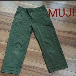MUJI (無印良品) - 無印良品 ワイドパンツ グリーン L
