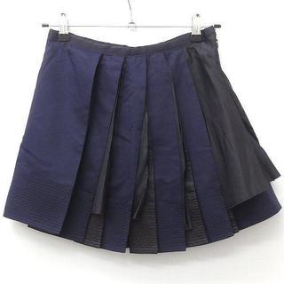 サカイ(sacai)のSACAI サカイ プリーツ スカート ネイビー ブラック(ミニスカート)