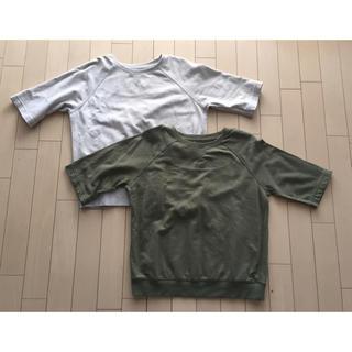 MUJI (無印良品) - ミニ裏毛ワイドTシャツ(五分袖) 2枚セット
