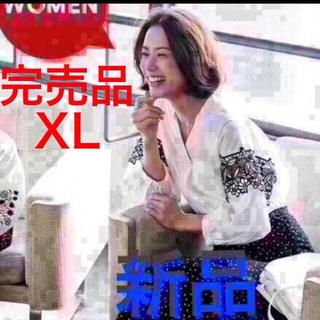 GU - エレガントレース 痩せて見える シャツ 七分袖 紺+白シャツ2枚 大きいサイズ