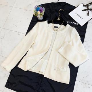 フォクシー(FOXEY)の美品 フォクシー カシミヤ 100% お刺繍 ジャケット カーディガン(ノーカラージャケット)
