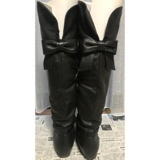 プールサイド(POOL SIDE)のプールサイド ニーハイ ロングブーツ  黒 ブラック 2way 23.5㎝(ブーツ)