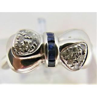 K18WG18金ホワイトゴールド サファイヤ 0.15ct ダイヤ 0.12ct(リング(指輪))