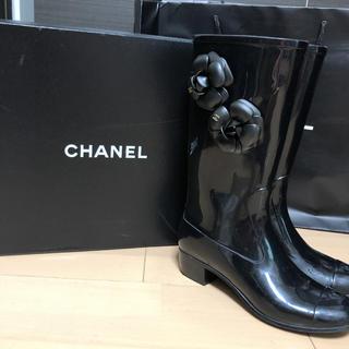CHANEL - CHANEL カメリア付 長靴 レインブーツ