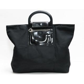 フェラガモ(Ferragamo)のFerragamo フェラガモ トートバッグ 黒 折り畳みバッグ 黒 良品 正規(ハンドバッグ)