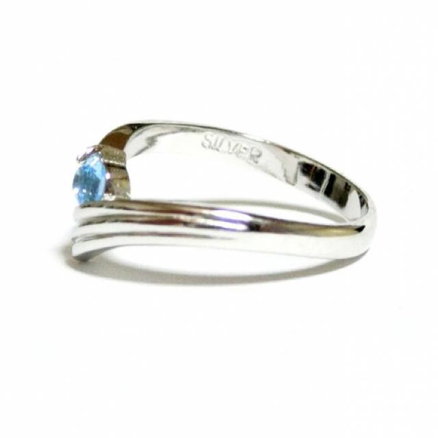 3号 スワロフスキー ピンキー アクアマリン シルバーリング レディースのアクセサリー(リング(指輪))の商品写真