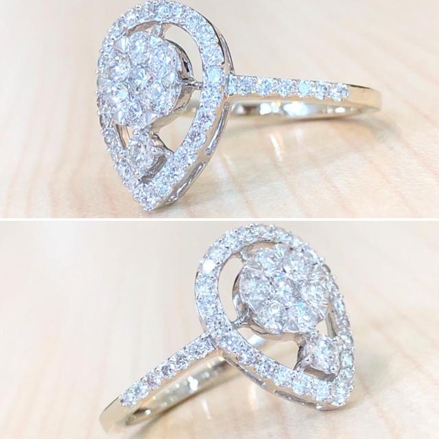 ✨合計0.7カラット✨キラキラ❣️ダイヤモンド ダイヤ K18 リング 指輪 レディースのアクセサリー(リング(指輪))の商品写真