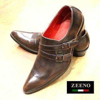 美品!艶靴!【ZEENO】Wベルトポインテッドトゥシューズ 送料込(ドレス/ビジネス)