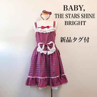 BABY,THE STARS SHINE BRIGHT - 【新品タグ付】BABY ベイビー カチューシャ付き★ ワンピース リボン フリル