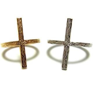 ハワイアンジュエリー リング 指輪 ステンレス 316L クロス ピンキーリング(リング(指輪))