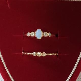アガット(agete)の2本セット アガット 13号 オパール フェルスパー  指輪 (リング(指輪))