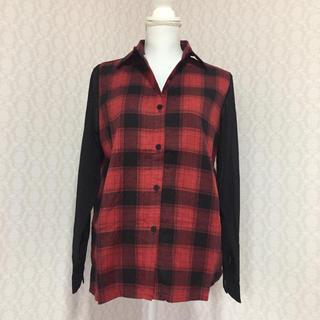 グレイル(GRL)の新品 GRL グレイル チェックシャツ ネルシャツ バイカラー M(シャツ/ブラウス(長袖/七分))