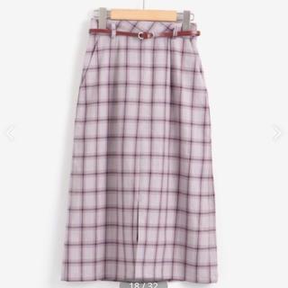 MAJESTIC LEGON - マジェ ベルト付きチェックIラインスカート