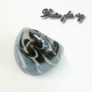 VR11 ブラック系 ベネチアン ガラス リング ベネチアリング 指輪(リング(指輪))