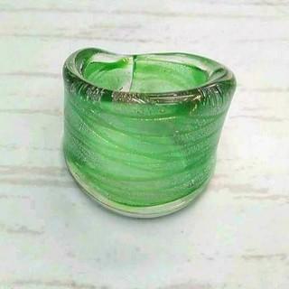 VR19 グリーン系 縞模様 ベネチアン ガラス リング ベネチアリング 指輪(リング(指輪))