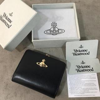 Vivienne Westwood - ◆新品未使用◆Vivienne Westwoodがま口 二つ折り財布◆Black