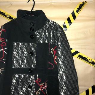刺繍 ハイネック ビッグ 変形 ロング コート 古着 韓国系 モード(ステンカラーコート)