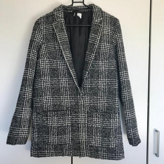 H&M - H&M☆白×黒 チェック柄 チェスターコート ジャケットコート S M