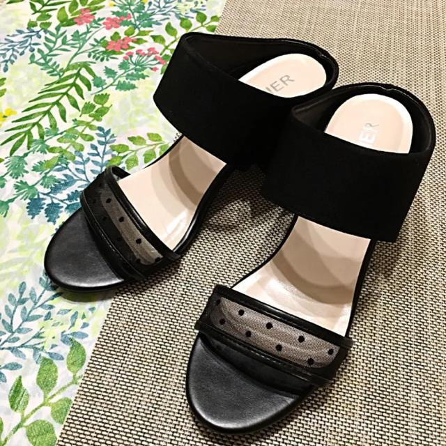 HONEYS(ハニーズ)の最終価格!美品♡1日だけ使用 太ベルト×シースルードット サンダル 黒 レディースの靴/シューズ(サンダル)の商品写真