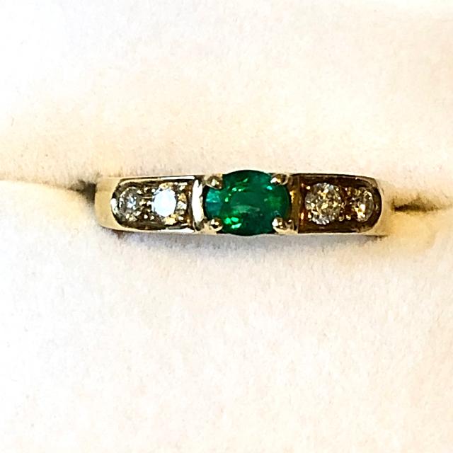 エメラルド✨ダイヤモンド✨ イタリアンジュエリー イエローゴールドリング♪ レディースのアクセサリー(リング(指輪))の商品写真