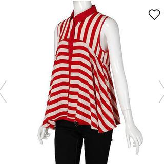 ジーユー(GU)の値下げ!GU ノースリーブカットソー 赤 ストライプ S(シャツ/ブラウス(半袖/袖なし))