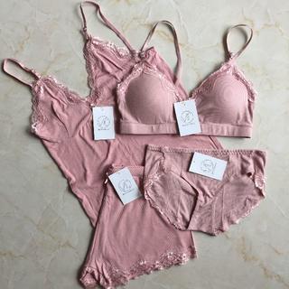 新品4点セット キャミソール・ショートパンツセット ブラ・ショーツセット ピンク