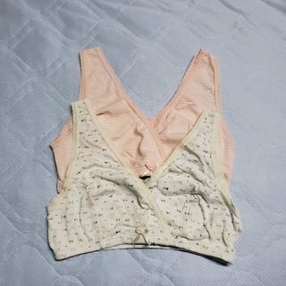 西松屋 - 新品♪ 授乳 ブラ ハーフトップ クロスオープン ピンク リボン ボーダー L