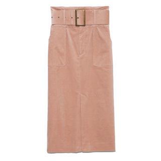 Lily Brown - コーデュロイミディタイトスカート、ピンク、リリーブラウン