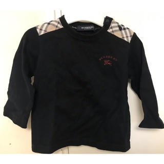 BURBERRY - バーバリー 長袖シャツ 80 ブラック チェック ワンポイント 男の子