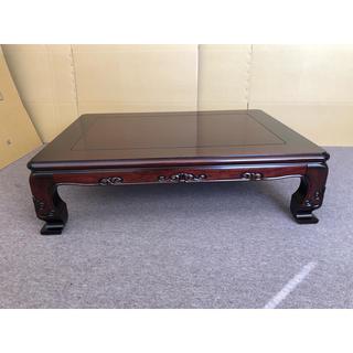 送料無料 120cm 素敵な彫りを施した国産和風テーブル(ローテーブル)