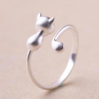 シルバー925 かわいい ネコ リング レディース 指輪 マットシルバー (リング(指輪))