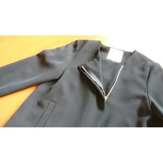 黒ライダーズ風ジャケット(ノーカラージャケット)
