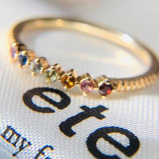 エテ(ete)のk10 ete  お守りアミュレット  レインボー マルチカラーリング(リング(指輪))