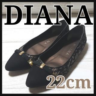 DIANA - DIANA ダイアナ フラットパンプス ぺたんこ レース 黒