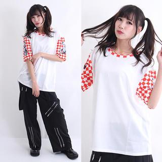 【DrugHoney】テディxチェッカー袖切り替えTシャツ