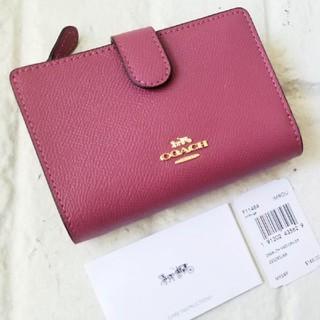 COACH - 新品【COACH コーチ】二つ折り財布 (ピンク)